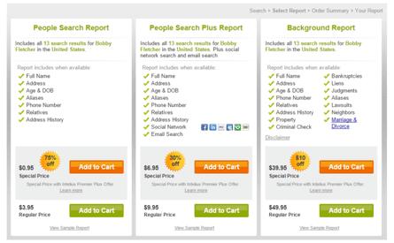Intelius background reports pricing